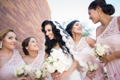 Bride and Bridesmaids getting ready for the wedding at a hotel in Yuma, Arizona.